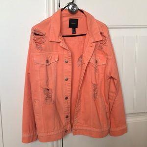 Forever21 coral distressed denim jacket